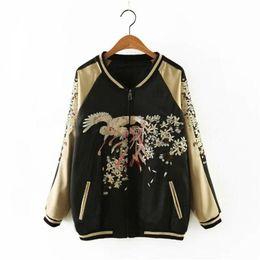 Wholesale Zwei Seitenabnutzung Phoenix Vogel Blumen Luxus bestickt Baseball Jacke Frauen Männer Streetwear Frühjahr Jacke Outwear goldenen Mantel
