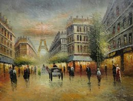 Wholesale Paris Painting Canvas - Framed Parisian Street and Paris Eiffel Tower Scene,Genuine Handpainted Modern Wall Decor Art Oil Painting Canvas Multi sizes Available bey