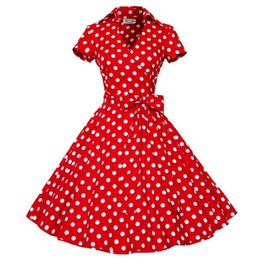 Wholesale Retro Print Dresses - New Plus Size S-4XL Women Retro Dress 50s 60s Vintage Rockabilly Swing feminino vestidos V neck Short Sleeves Dot print dress DK3018MX