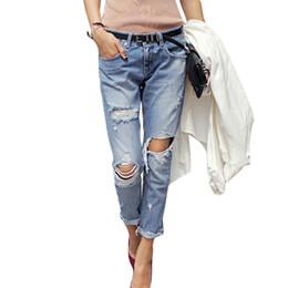 Wholesale Girls Stripe Capris - 2017 Spring New Boyfriend Hole Ripped Jeans Women Pants Cool Denim Vintage Straight Jeans For Girl Mid Waist Casual Pants Female
