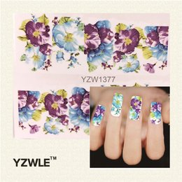 Wholesale Flower Designs For Tattoos - Wholesale- YZWLE 1 Sheet DIY Water Transfer Nail Decals, Purple Flower Designs Watermark Nail Art Stickers Tattoos Decorations Tools For