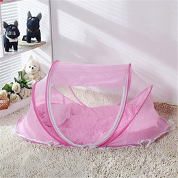 Wholesale Foldable Baby Mosquito Net Tent - Wholesale-Pink Baby Infant Bed Canopy Mosquito Net Baby Foldable Bedding Net Sets Cotton-padded Mattress Pillow Tent Portable 3pcs set