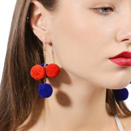 Wholesale Long Puffer - 2017 Fashion Bohemian Puffer Ball 9 colors pendant Long Earrings For Women girl Beach Wedding dangle drops Earrings Statement Jewelry Gifts