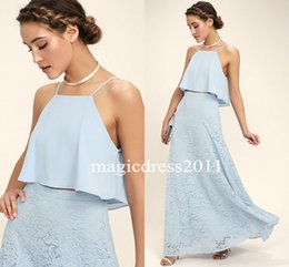 Wholesale Halter Junior Bridesmaid Dresses - 2017 Light Sky Blue Chiffon Bridesmaid Dresses Two Pieces A-Line Halter Long Lace Ruffled Junior Bridesmaid Gowns Dress For Party Wear