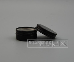 Wholesale Tin Candles Wholesale - Free shipping 15ml black aluminium Balm Tins pot Jar 15g aluminum jars with screw thread Lip Balm Gloss Candle Packaging bottle