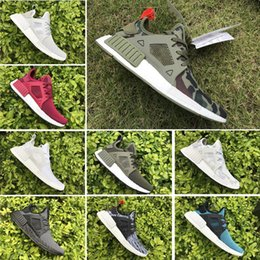 Wholesale youth skis - (With Box) Hot NMD XR1 Fall Olive Black White Youth Men Women Running Shoes Sneakers Originals NMD Runner Primeknit Boost Sports Shoes