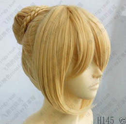 Wholesale Brand Wigs - 100% Brand New High Quality Fashion Picture full lace wigs>HOT Sale ! Fate Stay Night Saber Cosplay Wig Mixed Gold Color