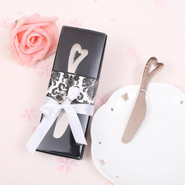 "Wholesale Knife Party For Wedding - DHL Free shipping 50 pcs lot ""spread the love"" stainless steel heart butter knife wedding favors and gifts for party giveaways"