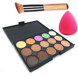 Wholesale Camouflage Concealer Palette - Professional 15 Colors Concealer Palette Make Up Cream Primer Camouflage Contour Palette Makeup With Puff Brush