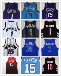 Wholesale Polyester Wrinkles - Top Quality #1 Tracy McGrady Jersey Throwback North Carolina #15 Vince Carter College Basketball Jersey 2017 New Blue Purple Black White