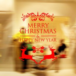 Wholesale Wholesale Outdoor Vinyl - Merry Christmas Wall Stickers Decoration Santa Claus Gifts Tree Window Wall Stickers Removable Vinyl Wall Decals Xmas Decor
