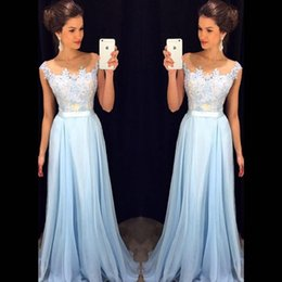 Wholesale Cheap Fast Shipping Lace Dresses - Cheap Fast Shipping Long Bridesmaid Dresses 2017 Illusion Sheer Scoop Cap Sleeves Applique Light Blue Country Women Dress Gowns Custom Made