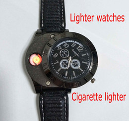 Wholesale Usb Cigar - Hot F665 New Military USB Charging sports Lighter Watch Men's Casual Quartz Wristwatches with Windproof Flameless Cigarette Cigar Lighter