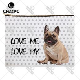 Wholesale Dogs Cosmetic - Wholesale- Love My Dog Cute Bulldog Golden Retriever Dog Pet Canvas Pattern Print Cosmetic Bag Makeup Pouch Wristlet Hand Bag