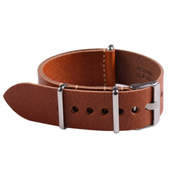 Wholesale Nato Leather Strap - watch band strap 1pc High Quality Genuine Leather Nato Watch Strap&Band 20 22mm 24mm with Stainless Steel Buckle