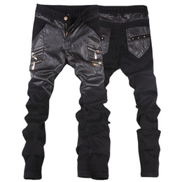 Wholesale Leather Pants 36 Men - Wholesale-New arrivals casual straight men's slim fit skinny leather pants male jeans motorcycle trousers 28-36 JP109