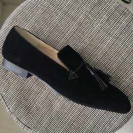 Wholesale Mens Black Suede Loafers - New 2017 mens black suede tassel oxfords,designer brand square toe business wedding dress shoes,fashion men loafers 39-46