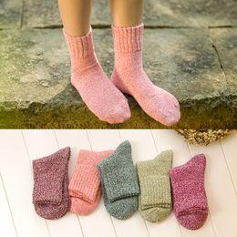 Argentina Wholesale-5 colores puros 2015 nuevo algodón de alta calidad cálido otoño invierno gruesa térmica damas mujeres calcetines de marca Suministro