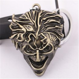 Wholesale Clown Car - Batman Keychain Movie Jewelry Alloy Clown Mask Bronze Car Key Rings & keychain Holder Keyring Gift Jewelry