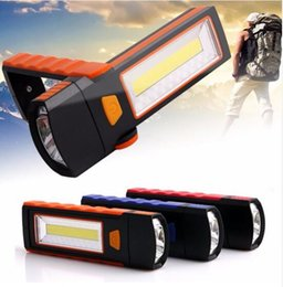 Wholesale Led Strong Light Flashlight - Free ship COB LED Work Light Portable Inspection Flashlight with Strong Magnetic Hook and Support Stand Great for Camping Automobile