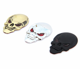 Wholesale Car Skull Emblems - 1 Pcs Metal 3D Skull Car stickers Logo Emblem Badge Truck Auto Motor Car Styling Sticker Decal 3 Colors