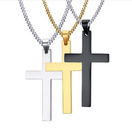 Wholesale Mens Black Jewelry - Mens Cross Pendant Necklaces Stainless Steel Link Chain Necklace Statement Charm Popular Jewelry gifts Fashion Accessories free shipping New