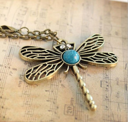 Wholesale Dragonfly Hollow - Fashion Vintage Hollow Carved Dragonfly Pendant Necklace Charm Retro Dragonfly Design Chain Pendant Girls' Gift Pardon Sweater