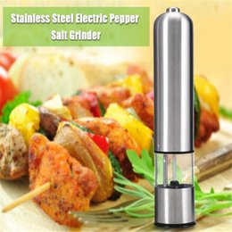 Wholesale Electric Pepper Spice Salt - Stainless Steel Electric Salt Pepper Grinder Spice Sauce Mills Set Kitchen Tool Free Shipping New 2PCS