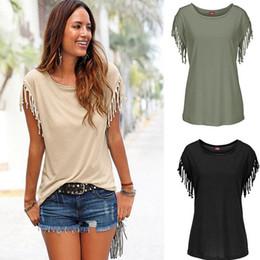 Wholesale Hip Hop Tassels T Shirt - Women Fashion Cuffs Tassel T Shirt Plus Size Round Neck Short Sleeve Tops Hip Hop T Shirt Loose Casual Lady Blouse