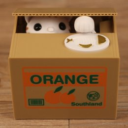 Wholesale Money Piggy Bank Toys - Kitten Saving Box Creative Stealing Money Lucky Cat Pocket Money Piggy Bank Super Popular Colors Cartoon Animal Toy 19dyd I1
