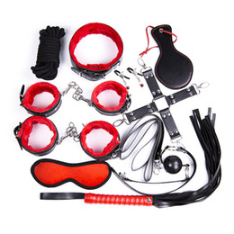 Wholesale Sex Sets - 10 in 1 bondage set bdsm gear slut torture adult sex toys ball gag handcuffs spanking whips mask ball gag nipple clamps GN333208049
