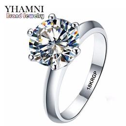 Wholesale women real gold rings - YHAMNI Real Pure White Gold Ring 18KRGP Stamp Rings Set 3 Carat CZ Diamond Wedding Rings For Women RING R1688
