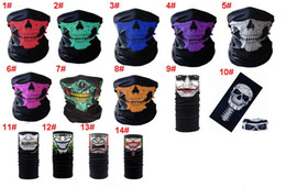Wholesale Motorcycle Grips Skull - 14 Colors Halloween Skull Face Mask Multipurpose Outdoor Sports Riding Warm Ski Caps Headband Wrist Grip Cycling Motorcycle Face Mask