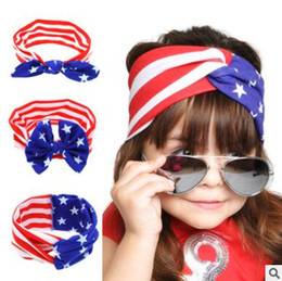 Wholesale Flag Day Kids - 4th of July Headband Independence Day Bow Knot Rabbit Ears Hairband American Flag Rabbit Ears Headwear Twist Turban for Kids Boys Girls 636