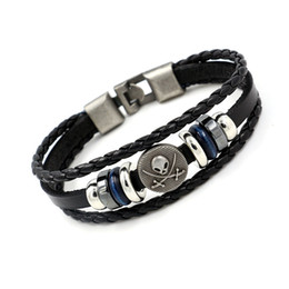 Wholesale Leather Men Bracelet Mix Order - Retro Rivet Charm Bracelets for men Beaded Leather bangle Original personality women Casual Fashion jewelry mix order