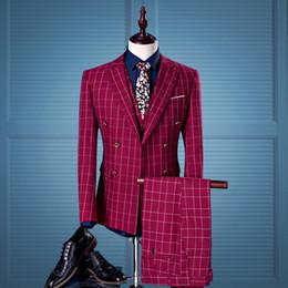 Wholesale Men S Marriage Suits - 2017 Double Breasted Men Suits With Pants Vest 3PCS Plaid red wine Wedding Suit for Men Prom Groom Marriage Slim Fit Suits
