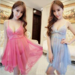 Wholesale Sexy Ladies Appeal - Wholesale- Sexy ladies pajamas appeal skirt with shoulder-straps bud silk nightgown