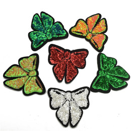 Wholesale Patches Sewn - 60pcs 6color Butterfly Sequins Embroidery Sew on Iron On Patch Badge Fabric Applique