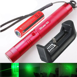 Wholesale Green Lasers Key - 303 Green Laser Pointer High Power Bright Visible Beam Light Burning Laser Pointer + Battery + Charger + Safe Key