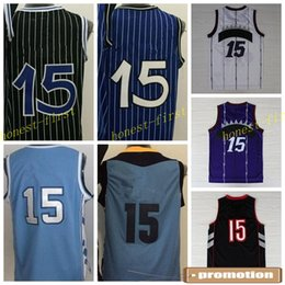 Wholesale College Wears - 2016 College Men Basketball Jerseys Cheap #15 Throwback Sport Shirt Rev 30 Basket ball Wear Uniforms With Player Name Team Logo Best Quality