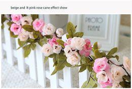 Wholesale Flower Furniture - 10 pcs MOQ 230cm 90.55inch 4color option Simulation Artificial wedding rose flower Cane Vine for wedding and home furniture decoration