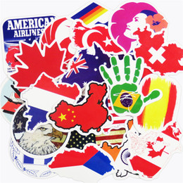 Wholesale Sticker Map - 50 Pcs National Flags & Map Airline Logo Travel Luggage Car Stickers For Skateboard Bike Laptop Car Styling DIY Decals Waterproof Sticker