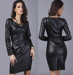 Wholesale Cheap Wear Work Dresses - High Quality Artificial Leather Dress With Cheap Price Woman Work Dresses With Metal Color Long Sleeve Dress