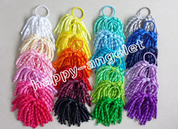 Wholesale Elastic Headband Hair Rope - 20PCS hairband baby girls Girl pony O A-korker Ponytail various color korker ribbons streamers hair bows with elastic hair ties rope PD002