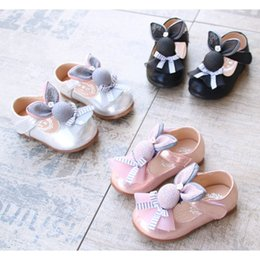 Wholesale Muscle Rabbit - New arrival Baby girls Rabbit princess shoes Infants Cute first walkers Pretty Glitter PU Mary Jane shoes for 1-3T