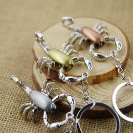 Wholesale Crystal Color Bottles - 3 Color Zinc Alloy Scorpion Keychain Key Ring Fashion Key Chain Pliers Is Moveable Men Lady Gift Craft Souvenir Novelties C4L