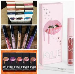 Wholesale Red Velvet Lipstick - KYLIE JENNER LIP KIT liner Kylie Lipliner Velvetine Liquid Matte Lipstick in Red Velvet Makeup Lip Gloss Twenty BUTTERNUT AUTUMN 60 colors