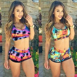Wholesale Two Piece Swimsuits High Waist - Sexy Coconut Tree Print Yellow And Purple Swimwear for women Two Pieces Swimsuit Women Bikinis Sets Free Shipping