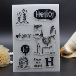 Wholesale Happy Making - Wholesale- 11X16CM Clear Stamps DIY photo Scrapbooking Card Making baby horse happy hello letters rubber stamp silicon transparent stamp