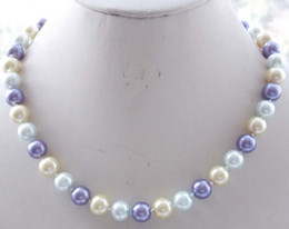 Wholesale 8mm South Sea Pearls - Free Shipping ** 8mm Multicolor South Sea Shell Pearl Round Necklace 18'' AAA k09